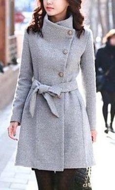 long belted grey coat