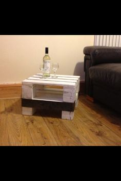 Reclaimed Pallet Wood And Untreated Mild Steel Coffee Table.