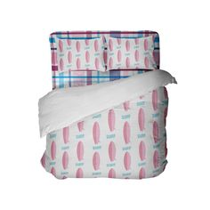 Pink Surfboards Surfer Girl Comforter with Preppy Plaid Sheets from Kids Bedding Company Girls Comforter Sets, Toddler Comforter, Beach Bedding Sets, Pink Bedding Set, King Size Bedding Sets, Cheap Bedding Sets, Beach Comforter, Affordable Bedding, Dorm Room Comforters