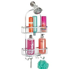 mDesign Bathroom Shower Caddy for Shampoo Conditioner Soap  Extra Large Silver ** Visit the image link more details.