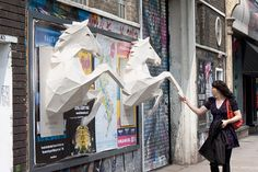 3D paper horse posters for the band Dry The River, by FOAM Agency