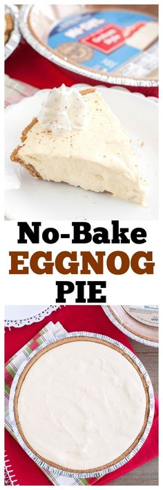 No-Bake Eggnog Pie is an easy dessert perfect for the holidays. Made with gluten free crust. #MIDELicious #ad #nobake #holidays #holidaydessert #eggnog