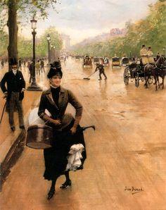 Jean Beraud The Milliner on the Champs Elysées