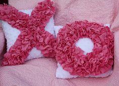 SET Pink & White Ruffle Petal Throw Pillows X by TiaPatrickDesigns, $52.00