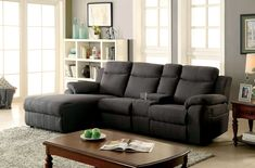 Gray Sectional Couch With Recliner.Grey Fabric Black Vinyl Modern Sofa And Loveseat Set W . Power Reclining Sectional With USB Ports My Furniture Place. Home Design Ideas Sectional Sofa With Chaise, Fabric Sectional, Living Room Sectional, Corner Sectional, Living Rooms, Leather Reclining Sectional, Reclining Sofa, Sofa Design, Link