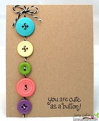 cute as a button. Fun idea to incorporate in a baby card