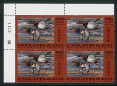 CO14 Colorado 2003 Waterfowl State Duck Plate Block  MNH Canvasback