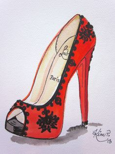 Fashion illustration: louboutin inspired shoe sketch red peep toe original pen and watercolor via Etsy