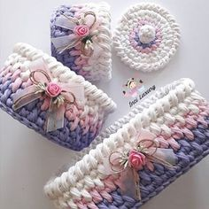 Crochet And Knitting Patterns - Latest ideas information Crochet Box, Crochet Basket Pattern, Knit Basket, Crochet Gifts, Crochet Yarn, Knitting Patterns, Crochet Patterns, Crochet Decoration, Crochet Handbags