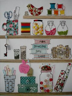 cute embroidered craft room scene
