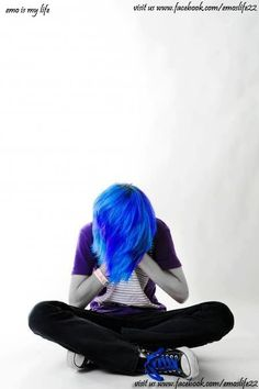 scene boy with blue hair, my friend has that hair color(: