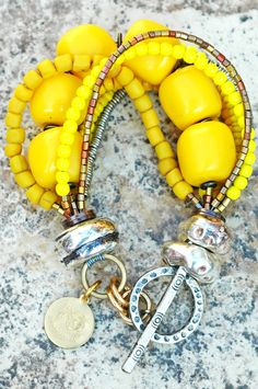 Yellow, Silver and Copper Multi-Strand Bracelet - Perfect for the App State Game my friends!