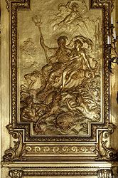 """Gold Room panel at - Marble House, Newport, RI.  An American Gilded Age summer """"cottage"""" - mansion of, high-societies socialites, Mrs. (Alva) and Mr. William Kissam Vanderbilt. The residential home was built as a birthday present for Alva Vanderbilt. Constructed between, c.1888 to c.1892. Architect: Richard Morris Hunt. ~ {cwlyons} ~ (Image via: Newport Mansions)"""
