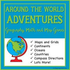 Geography, Math and Map games to have fun learning about continents, countries, oceans, compass directions, area and perimeter and more. Great for centres, homeschooling/home education and families. Available for instant download from Teachers Pay Teachers (TpT)