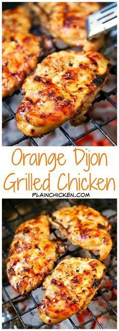Orange Dijon Grilled Chicken Recipe - chicken marinated in fresh orange juice, brown sugar, dijon mustard, garlic and apple cider vinegar - fantastic flavor combination! So versatile! Great on its own or in quesadillas, tacos, or on top of a salad. #PurelyPoultry #grillingrecipes