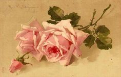 Roses by Catharina Klein, (1861-1929), painter of flowers, is a talented artist from the late nineteenth century and early twentieth century.  Born in 1861 at Eylau in East Prussia, she studied in Berlin and settled there. His work (nearly 2200 paintings almost destroyed during the bombing of Berlin), survived through lithographs and reproductions of postcards.