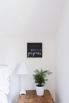 Hello Gorgeous | Wood Sign – WilliamRaeDesigns farmhouse signs, rustic signs, fixer upper style, home decor, rustic decor, inspiring quotes, wood sign sayings, magnolia market, rustic signs,