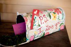 DIY Painted mailbox card holder wedding  www.carleykelley.com