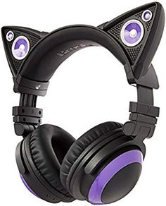 Brookstone Wired Purple Cat Ear Headphones with External Speakers Gaming Headphones, Gaming Headset, Cat Ear Headset, Mode Kawaii, Purple Cat, Accesorios Casual, Gamer Room, Light Music, Cosplay Outfits
