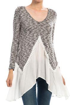 Marled Crochet Detail Gauze Trim Knit Top60% Rayon, 40% PolyColor: Black$42