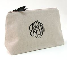 FREE SHIPPING-Monogrammed Cosmetic Bag. by PersonalizedFinds