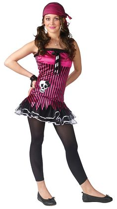 Product Description Teen Halloween Costumes - This Teen Rockin' Skull Pirate Costume includes the drop waist tutu dress, bandana, fishnet sleevelets and the footless tights. Halloween Costumes For Teens, Halloween Stuff, Costume Craze, Footless Tights, Drop Waist, Cute Fashion, Man, Tutu, Skull