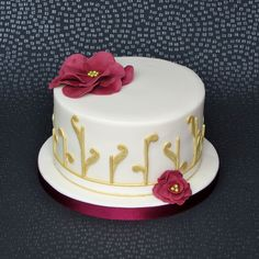 Ivory, Gold and Burgundy Cake, ruby wedding cake, ruby anniversary cake, abstract. Pam Bakes Cakes, pambakescakes