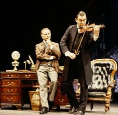 "A very rare color still from the 1988-89 production of ""The Secret of Sherlock Holmes"" at the Wyndham Theatre."