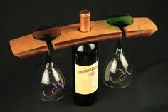 Wine Bottle & 2 Glass Rack Oak Wine Barrel Stave Staves by wood creations and more, $20