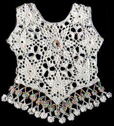 Tejidos Carmesí: Blusa tejida a crochet en hilos Textil Amazonas en colores blanco y celeste matizado (modelo inspirado en el Top Callisto de Doris Chan), talla M