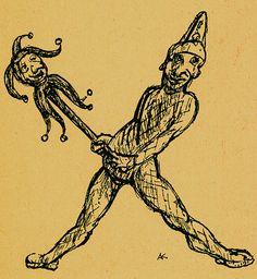 TitleX: Aus diesem X macht uns keiner ein U  Mediummetal engraving  BookAlfred Kubin. Ein Bilder: ABC. Hamburg : Maximilian-Gesellschaft, E.V., 1948.  NotesX: From this X you can't make a Y (Idiomatic expression, here: you can't make a wise man out of a fool).  ThemeThe Grotesque