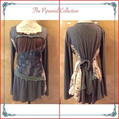 ✨Boho tunic top✨ ✨This Pyramid Collection brand top is so unique & cute.✨I ordered  from an other posher but it was too large for me. ✨It was never worn by me. Excellent condition!✨Has a very funky front  with boho patchwork detailed with gorgeous colors (gray,steal blue,beige,brow,yellow) and 3-4 different fabric + lace! ✨Semi assymetrical ..,.I wish was my size, I would keep it! There is a tie on the back , so you can create your on size and style! ✨It can be worn from a size M-XL! Tag…
