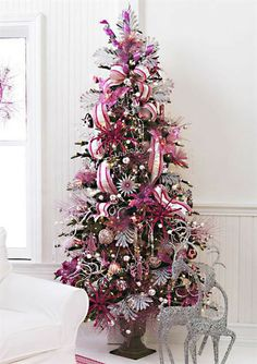 Christmas Tree Pink White Pre Lit Holiday Beautiful