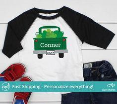 98e76e738 St Patricks Day Truck Toddler Boy, St Patricks Truck Shirt, Boys St  Patricks Day Clothing, St. Patrick's Day Shirt for Toddlers, PAT-005. Raglan  ...