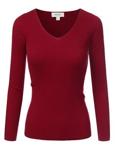 06448c0368c Doublju Fitted Deep V-Neck And Round Neck Ribbed Knit Sweater Top at Amazon  Women s Clothing store