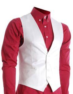 FLATSEVEN Mens Slim Fit Business Casual Premium Vest (VE200) White, Boys XL FLATSEVEN #jackets #mens fashion #denim #mens clothes #menswear