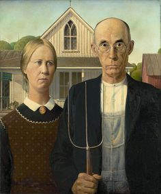 American Gothic Artist	: Grant Wood - Year 1930 Type: Oil on beaverboard Dimensions-74.3 cm × 62.4 cm (29¼ in × 24½ in) Location: Art Institute of Chicago