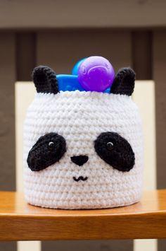 Crochet Panda Basket by HookedOtaku on Etsy