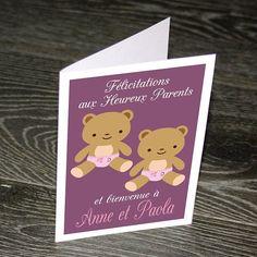 Nouveau Bébé Carte de vœux Félicitations grands-parents jumeaux Personnalisé Noms Date C9