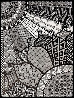 """Sunshine and daisies"" zentangle art, hand drawn by Meredith Terry."