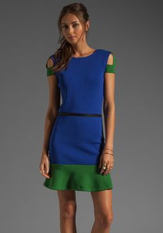 CAMILLA AND MARC Ease of Form Knit Dress w/ Waist Zipper in Blue/Green