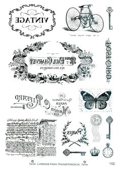 French label Tin Can Crafts, Diy Arts And Crafts, Hobbies And Crafts, Paper Crafts, Foto Transfer, Transfer Paper, Free Printable Sheet Music, Etiquette Vintage, Graphics Fairy