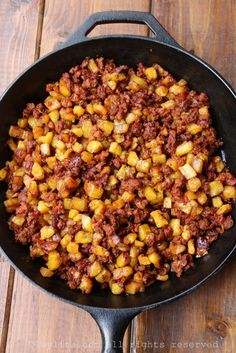 Chorizo and ripe plantain hash picadillo