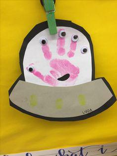 Alien Spaceship Handprints Space Crafts For Kids, Space Preschool, Space Activities, Preschool Projects, Alien Crafts, K Crafts, Letter A Crafts, Space Classroom, Toddler Classroom