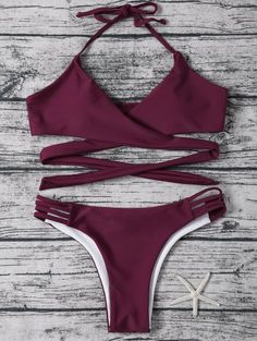SHARE & Get it FREE | Strappy Halter Wrap Bikini Set - Purplish RedFor Fashion Lovers only:80,000+ Items • New Arrivals Daily Join Zaful: Get YOUR $50 NOW!