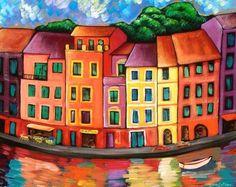 Giclee Print: Portfofino, Italy by Sara Catena : Canvas Art Prints, Fine Art Prints, Art Fantaisiste, Art Case, Art Moderne, Arte Pop, Naive Art, Diy Wall Art, Whimsical Art