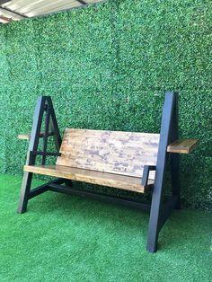 Decking scraps sculpted into industrial steel and wood bench - Salvabrani - Salvabrani Welded Furniture, Iron Furniture, Bench Furniture, Steel Furniture, Home Decor Furniture, Industrial Furniture, Rustic Furniture, Woodworking Kits, Woodworking Furniture