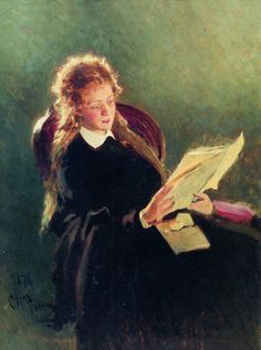 Reading Girl (1876).Ilya Repin (Russian, Realism, 1844-1930). Oil on canvas. Repin studied at the Imperial Academy. From 1873 to 1876 on the Academy's allowance, Repin sojourned in Italy and lived in Paris, where he was exposed to French Impressionist painting, which had a lasting effect upon his use of light and colour. His style was to remain closer to that of the old European masters, especially Rembrandt, and he never embraced Impressionism.