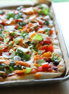 Taco Salad Pizza with Doritos ~ Says: Super tasty and surprisingly light! Love the little crunch you get from the doritos too! This recipe is the bomb dot com and doesn't take very much time to throw together at all! Pizza Recipes, Mexican Food Recipes, Appetizer Recipes, Cooking Recipes, Healthy Recipes, Appetizers, Mexican Cooking, Mexican Dishes, Cooking Ideas