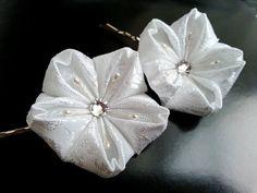 Kanzashi White Cherry Blossom Bridal Fabric by MizuSGarden
